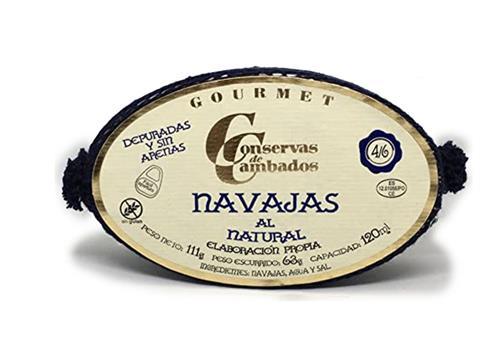 Navajas al natural Gourmet 4 a 6 piezas en lata